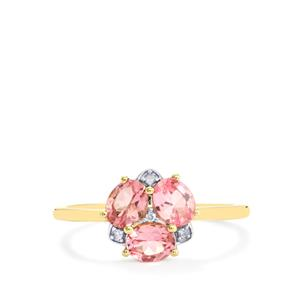 Mozambique Pink Spinel & Diamond 9K Gold Ring ATGW 1.10cts