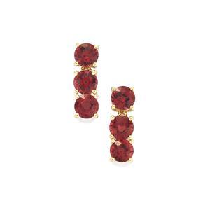 2.65ct Malawi Garnet 9K Gold Earrings