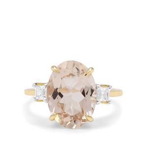 Champagne Danburite & White Zircon 9K Gold Ring ATGW 6cts