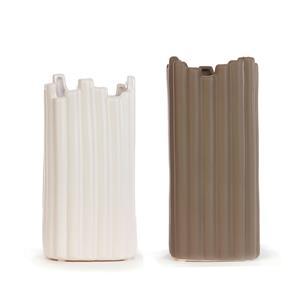 Set of 2 Dark Taupe Ceramic Vases