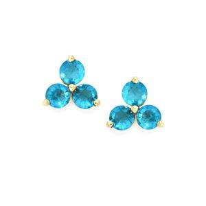 2.20ct Neon Apatite 9K Gold Earrings