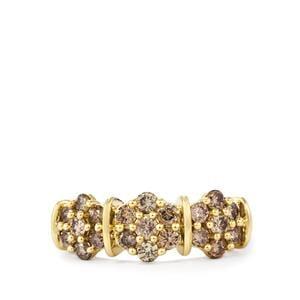 1ct Champagne Diamond 10K Gold Ring