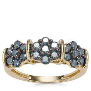 Blue Diamond Ring in 10k Gold 1ct