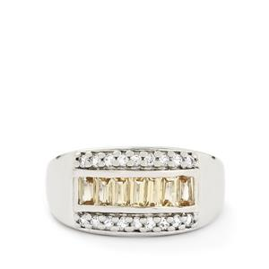 1.26ct Ouro Preto Imperial & White Topaz Sterling Silver Ring