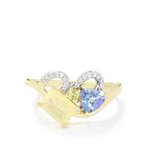 Harlequin Ring in 10K Gold 1.35cts