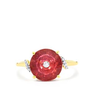 Lehrer QuasarCut Malagasy Ruby Ring with Diamond in 10K Gold 3.96cts (F)