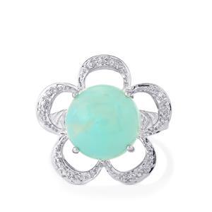 Aquaprase™ & Diamond Sterling Silver Ring ATGW 6.22cts