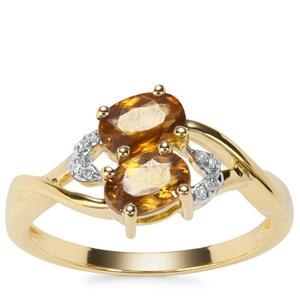 Morafeno Sphene Ring with Diamond in 9K Gold 1.33cts