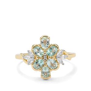 Aquaiba™ Beryl & White Zircon 9K Gold Ring ATGW 1.29cts