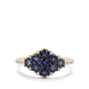 Nigerian Blue Sapphire & White Zircon 9K Gold Ring ATGW 1.18cts