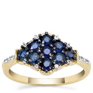 Nigerian Blue Sapphire Ring with White Zircon in 9K Gold 1.18cts