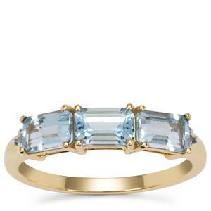 Santa Maria Aquamarine Ring with White Zircon in 9K Gold 1.55cts
