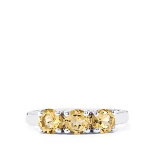 1.26ct Bolivian Natural Champagne Quartz Sterling Silver Ring