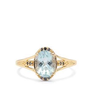 Madagascan Aquamarine & Blue Diamond 9K Gold Ring ATGW 1.73cts
