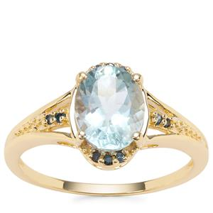 Madagascan Aquamarine Ring with Blue Diamond in 9K Gold 1.73cts