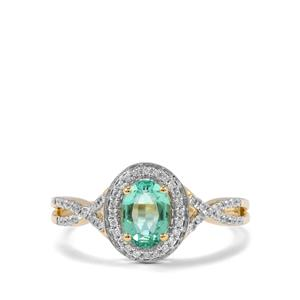 Ethiopian Emerald Ring with Diamond in 18K Gold 0.72ct