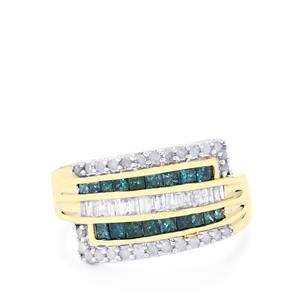 Blue Diamond Ring with White Diamond in 10K Gold 1ct