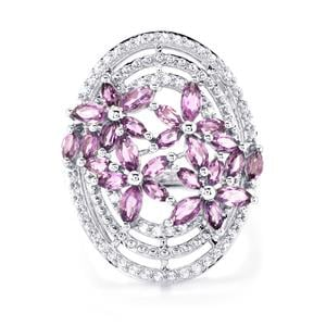 Ametista Amethyst Ring with White Topaz in Sterling Silver 2.75cts