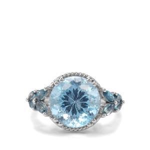 10.10ct Sky Blue & London Blue Topaz Sterling Silver Ring