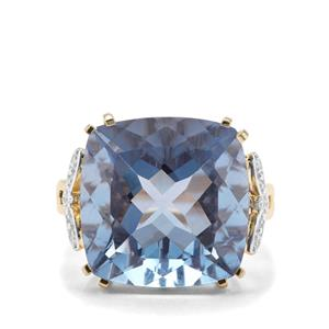 Colour Change Fluorite & Diamond 9K Gold Ring ATGW 19.63cts