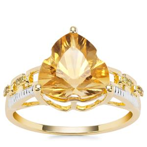 Lehrer Infinity Cut Diamantina Citrine Ring with Yellow Diamond in 9K Gold 3.43cts