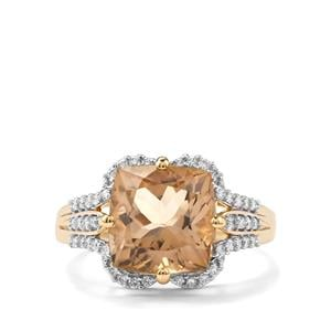 Scapolite & Diamond 18K Gold Ring MTGW 4.98cts