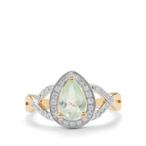 Paraiba Tourmaline Ring with Diamond in 18K Gold 1.10cts