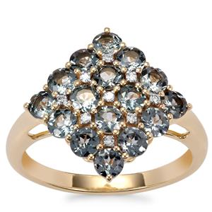 Mahenge Blue Spinel Ring with Diamond in 10K Gold 1.96cts