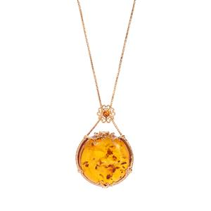 """""""Theia"""" Baltic Cognac Amber Slider Necklace in Gold Tone Sterling Silver"""