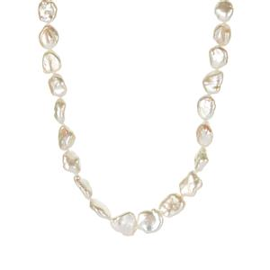 Baroque Cultured Pearl Necklace in Sterling Silver (10mm x 9mm)