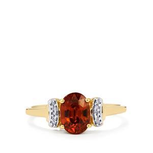 Zanzibar Sunburst Zircon Ring with Diamond in 10k Gold 1.78cts