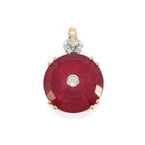 Lehrer TorusRing Malagasy Ruby Pendant with Diamond in 9K Gold 6.46cts (F)