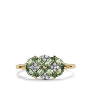 Alexandrite Ring with White Zircon in 9K Gold 0.71ct