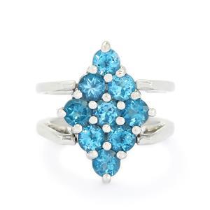 Swiss Blue Topaz & Ratanakiri Zircon Sterling Silver Reversible Ring ATGW 6.21cts