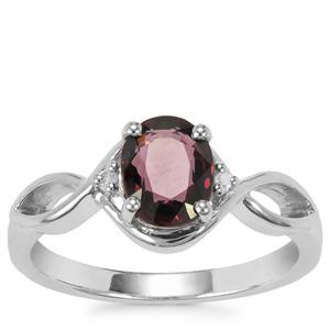 Burmese Multi-Colour Spinel Ring with Diamond in Sterling Silver 1.34cts
