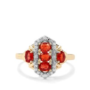 Songea Ruby & White Zircon 9K Gold Ring ATGW 1.27cts