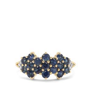 Australian Blue Sapphire & Diamond 9K Gold Ring ATGW 1.38cts