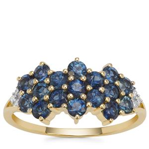 Australian Blue Sapphire Ring with Diamond in 9K Gold 1.38cts