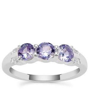 Tanzanite Ring with White Zircon in Sterling Silver 1.15cts