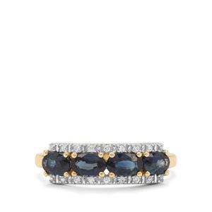 Australian Blue Sapphire & White Zircon 9K Gold Ring ATGW 1.33cts