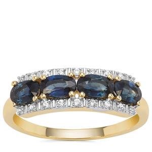 Australian Blue Sapphire Ring with White Zircon in 9K Gold 1.33cts