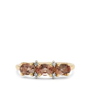 Padparadscha Oregon Sunstone Ring with White Zircon in 9K Gold 1.35cts
