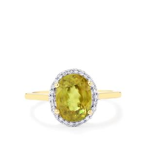 Ambilobe Sphene Ring with Diamond in 18k Gold 3.23cts