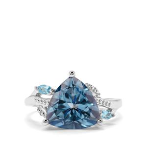 5.35ct Santa Maria & Swiss Blue Topaz Sterling Silver Ring