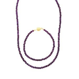 Bahia Amethyst Set of Necklace & Bracelet in Gold Plated Sterling Silver 55cts