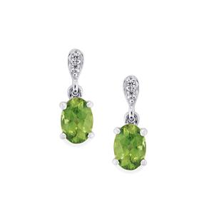 Mandrare Green Apatite & White Zircon Sterling Silver Earrings ATGW 1.49cts