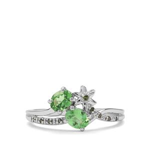 Tsavorite Garnet & Green Diamond 9K White Gold Ring ATGW 0.74cts