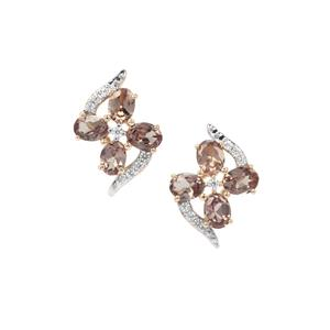 Tsivory Colour Change Garnet Earrings with White Zircon in 9K Gold 1.42cts