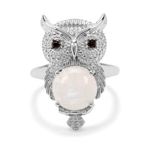 Rainbow Moonstone & Black Spinel Sterling Silver Owl Ring ATGW 4.50cts