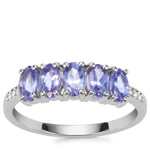 AAA Tanzanite Ring with Diamond in 10K White Gold 1.27cts